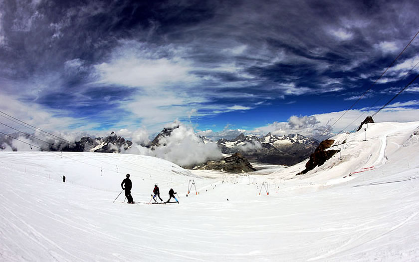 Summer skiing above Cervinia
