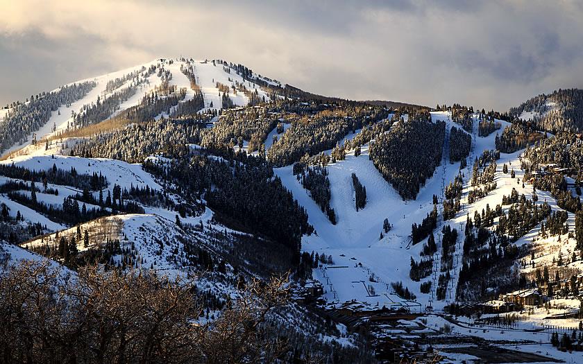 View of Deer Valley ski area in Utah