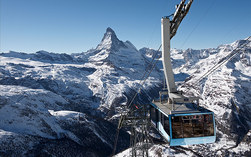 Matterhorn Ski Paradise  links Switzerland and Italy