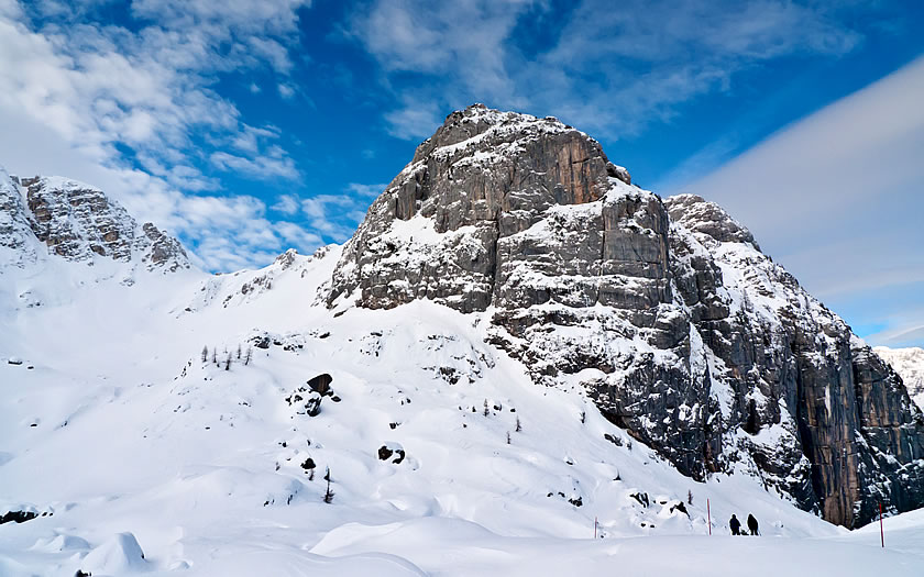 The Bila Pec mountain in the Kanin-Sella Nevea ski area.