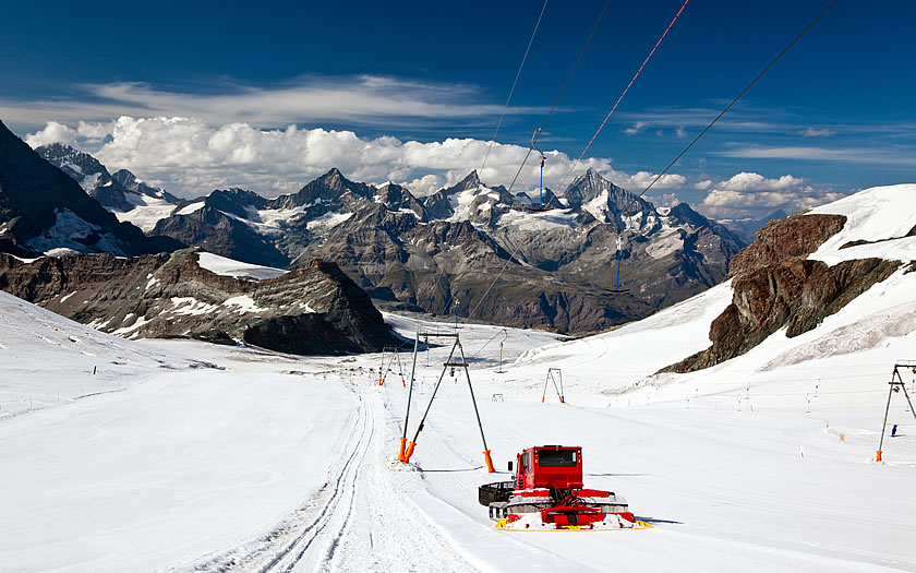 The Matterhorn Glacier Paradise summer ski area above Zermatt