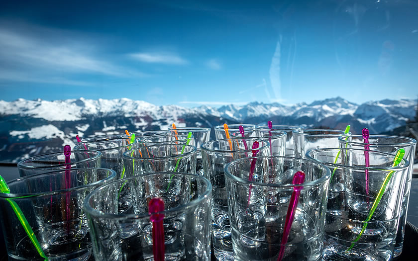 Empty shot glasses in the mountains