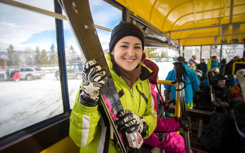 Ski bus in ski resort