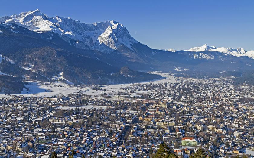 Garmisch-Partenkirchen with the Zugspitze in the background