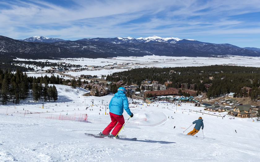 Skiing at Angel Fire ski resort in New Mexico