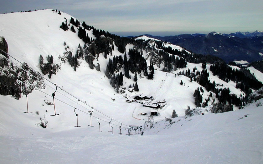 A draglift on the Wegscheid side of the ski area at Lenggries