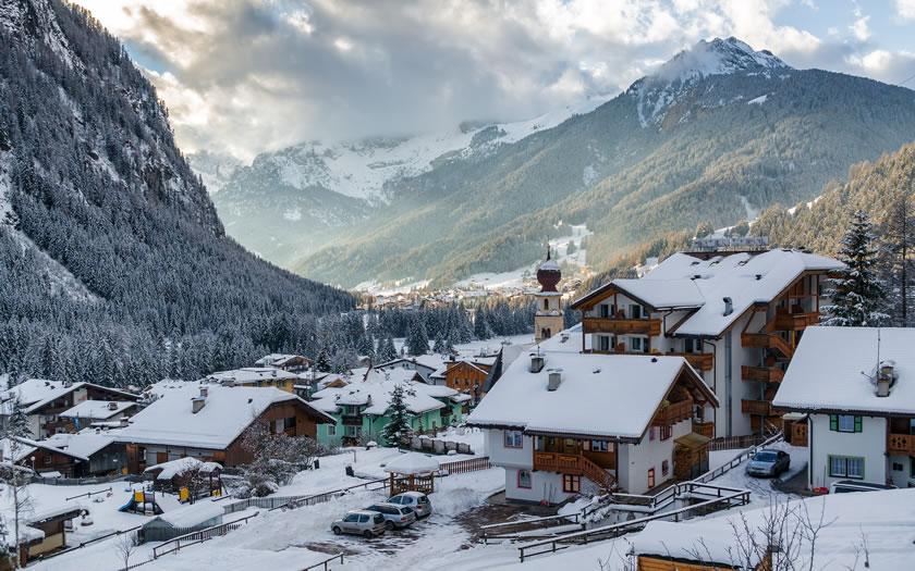 Canazei in the Val di Fassa region of the Dolomites