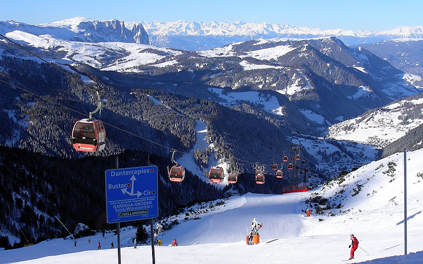 The ski slopes above Selva in the Italian Dolomites